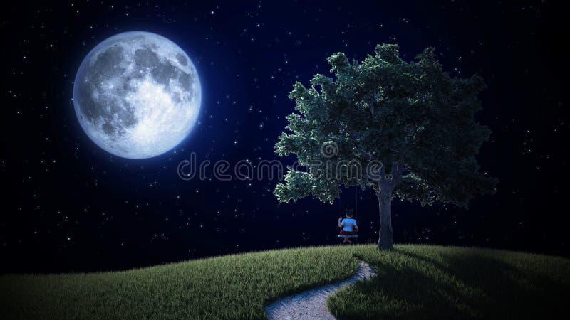 Bambino piccolo su un'oscillazione che esamina la luna royalty illustrazione gratis