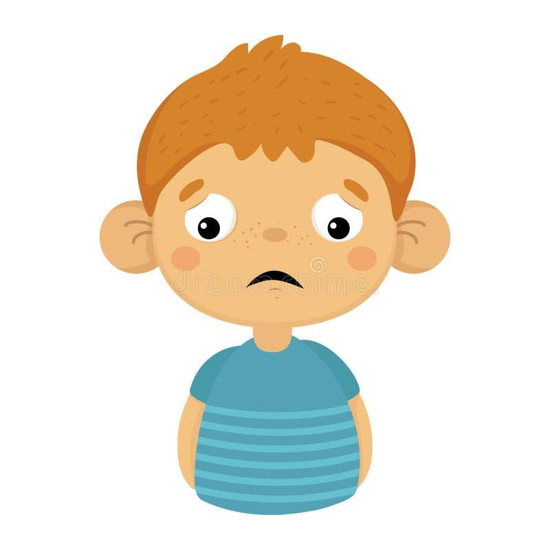 Bambino piccolo sveglio triste e deludente con le grandi orecchie in maglietta blu, ritratto di Emoji di un bambino maschio con i royalty illustrazione gratis