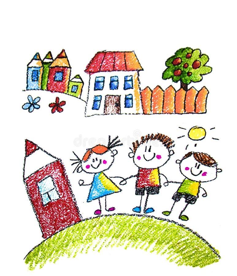Bambino  ?pittura di s sulla carta Bambini che disegnano immagine Piccolo bambini, ragazzi e ragazze Scuola, illustrazione di asi illustrazione di stock