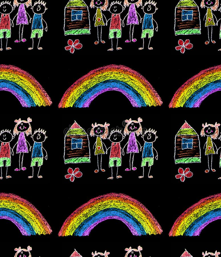 Bambino  ?pittura di s sulla carta Bambini che disegnano immagine Piccolo bambini, ragazzi e ragazze Scuola, illustrazione di asi fotografie stock libere da diritti