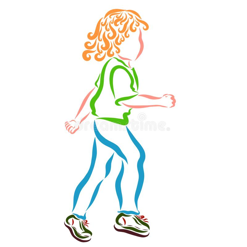 Bambino riccio-dai capelli corrente, ricreazione attiva, sport illustrazione vettoriale