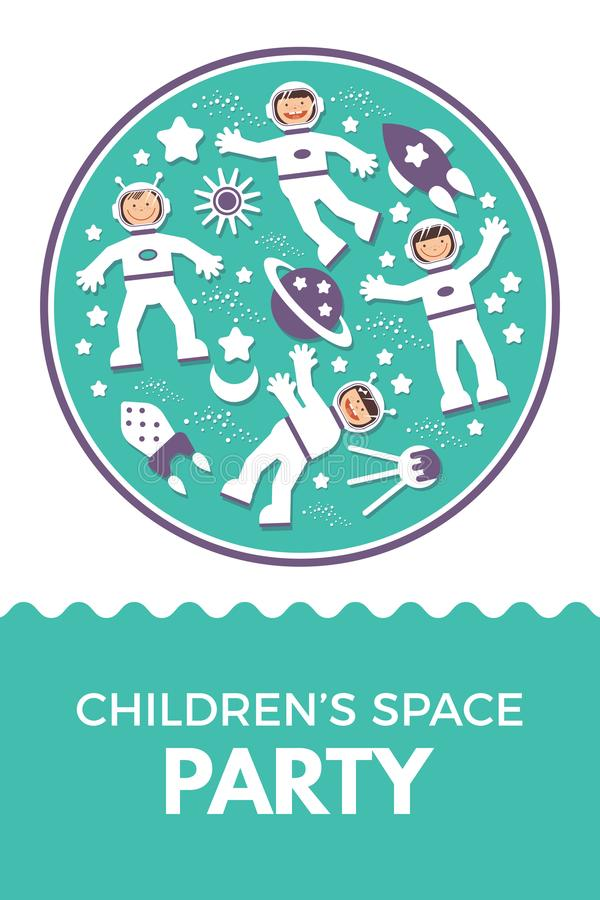 Bambino s Rocket Birthday Party dell'illustrazione di vettore royalty illustrazione gratis