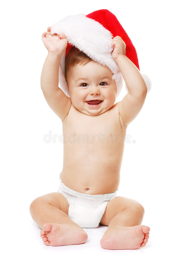Bambino-Santa con il cappello rosso di natale fotografia stock libera da diritti