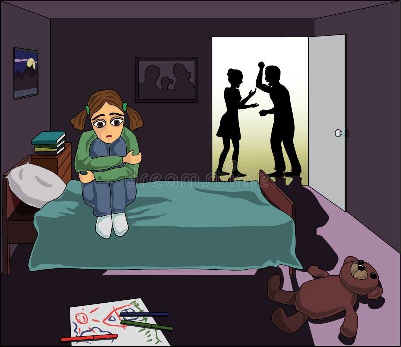 Bambino solo nella famiglia illustrazione vettoriale