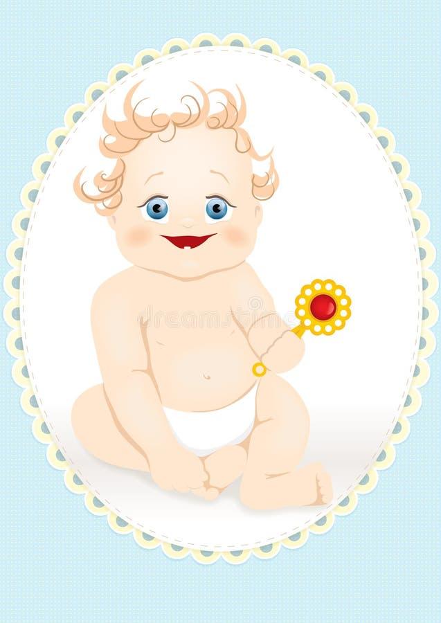 Bambino sorridente con un crepitio illustrazione vettoriale