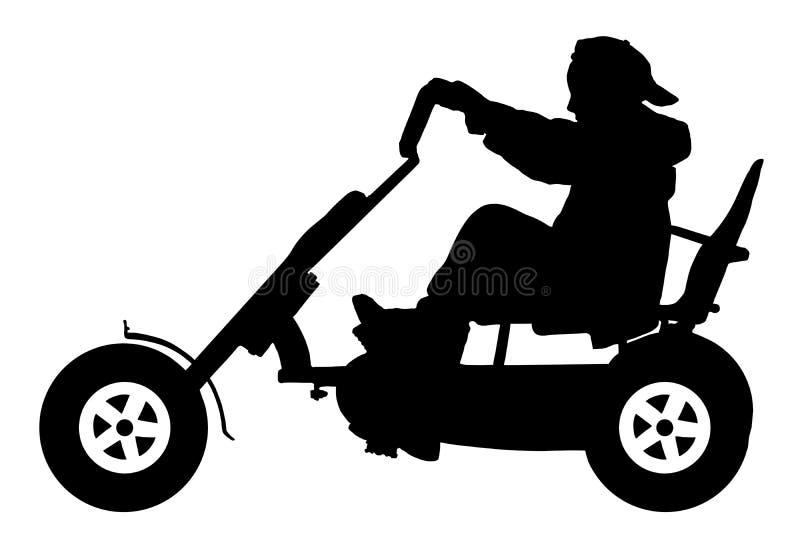 Bambino su una siluetta della bicicletta, adolescente su un giro della bici royalty illustrazione gratis