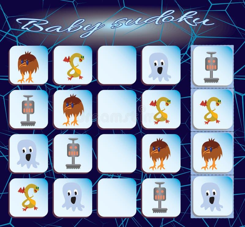 Bambino Sudoku con le immagini variopinte dei monstres illustrazione di stock