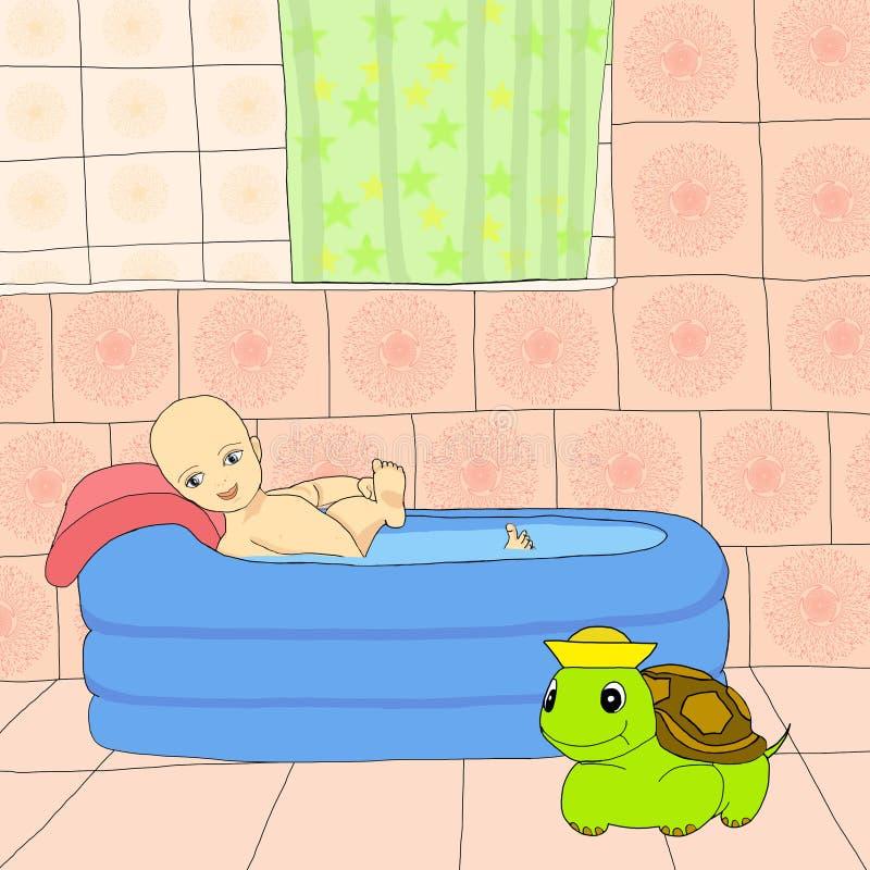 Bambino sul bagno royalty illustrazione gratis