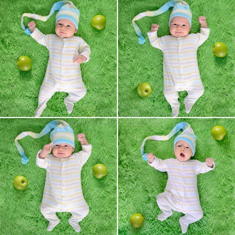 Bambino svegliato nei bordi divertenti del cappello con le mele verdi immagini stock
