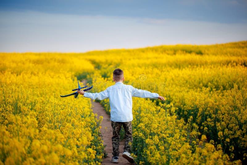 Bambino sveglio che cammina nel campo giallo un giorno di estate soleggiato Il ragazzo avvia l'aereo di carta Vista posteriore fotografia stock