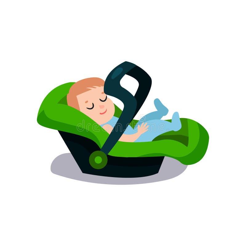 Bambino sveglio che dorme su una sede di automobile verde, illustrazione di viaggio di vettore del fumetto del bambino sicuro illustrazione di stock
