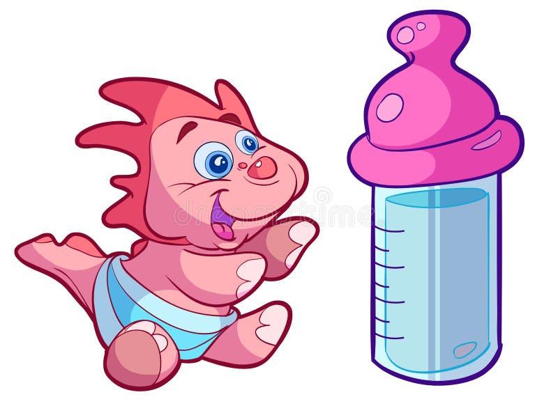 Bambino sveglio Dino con la grande bottiglia royalty illustrazione gratis