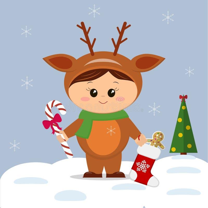 Bambino sveglio in un costume dei cervi di Natale in uno stile del fumetto accanto ad un albero di Natale con uno stivale con i r illustrazione vettoriale