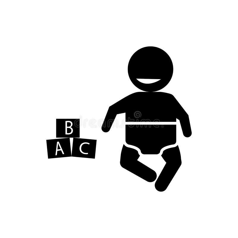 Bambino, temperatura, icona centigrado Elemento dell'icona del bambino illustrazione di stock