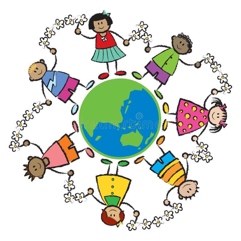 Bambino, terra, pace-ASIA OCEANIA illustrazione di stock