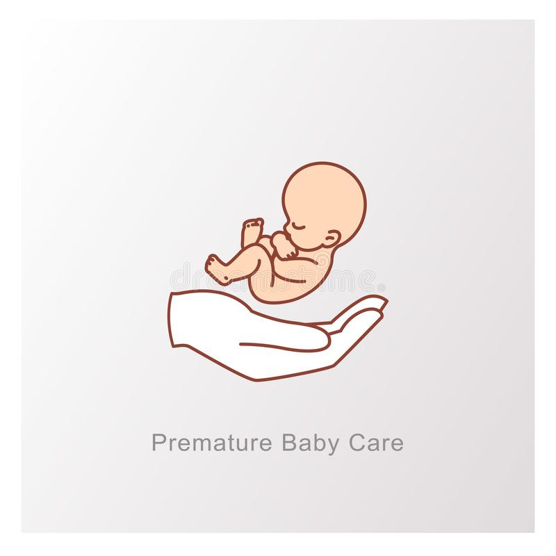 Bambino in utero e mano Simbolo del feto illustrazione vettoriale