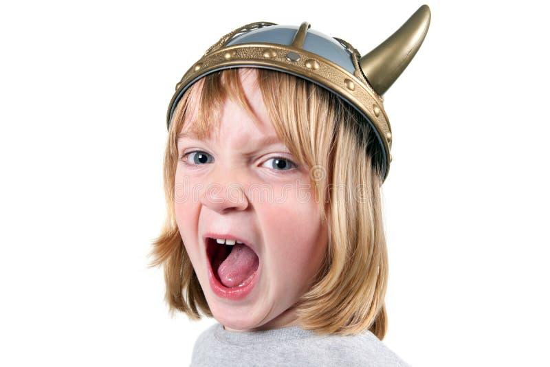 Bambino Vichingo arrabbiato fotografie stock libere da diritti