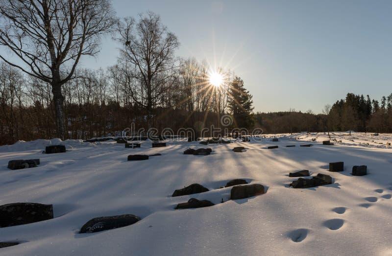 Bamble, Noruega - 17 de março de 2018: Cemitério, sepulturas cobertas na neve, floresta backlit, nas ruínas da igreja do ` s do S foto de stock royalty free