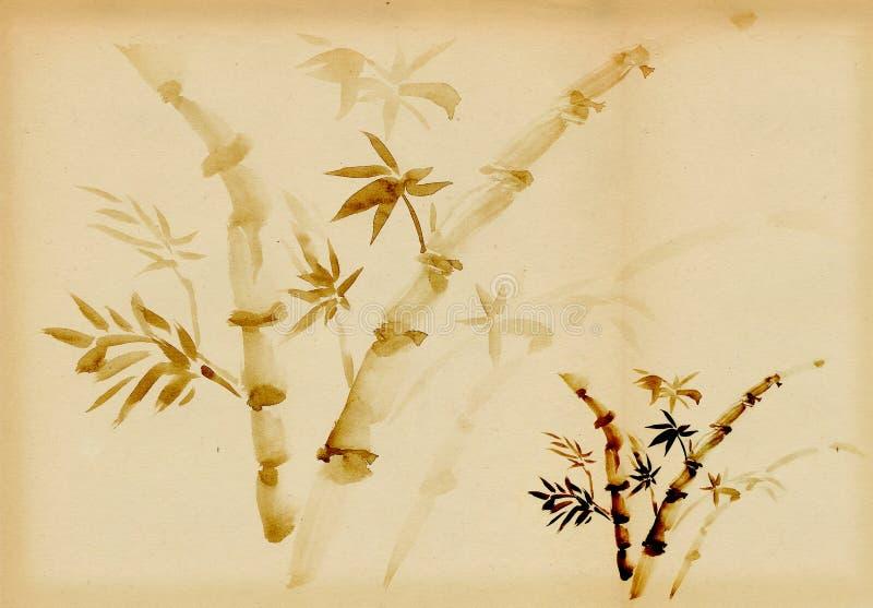 Bamboe dat in traditionele het oostenstijl wordt getrokken royalty-vrije illustratie