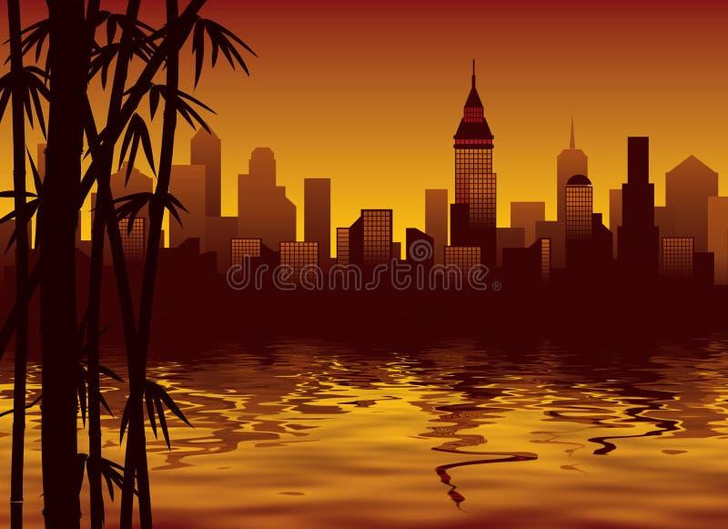 Bamboe en stad vector illustratie