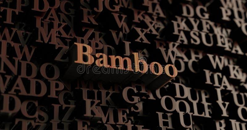 Bamboe - Houten 3D teruggegeven brieven/bericht royalty-vrije illustratie