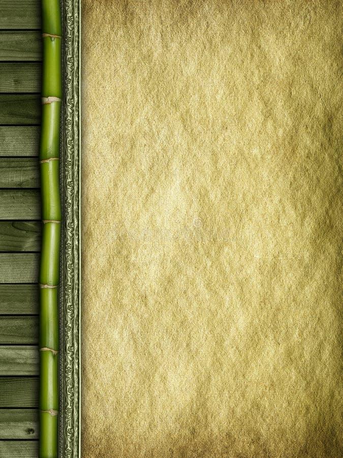 Bamboe, planken en met de hand gemaakt document stock afbeelding