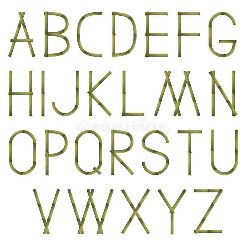 Bamboealfabet vector illustratie