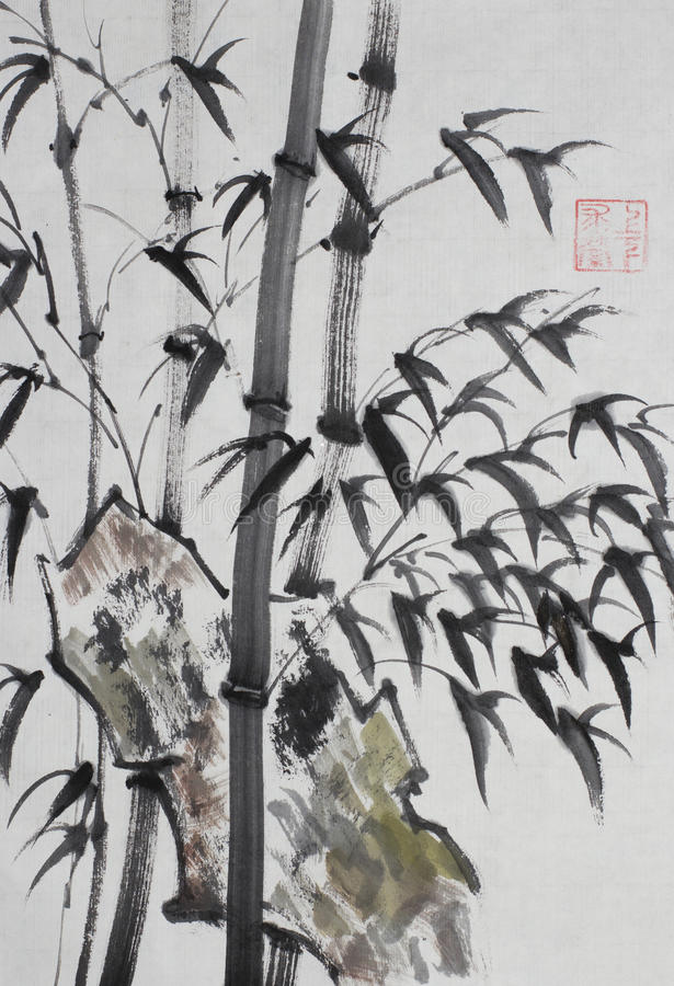 Bamboebomen in Chinese stijl royalty-vrije illustratie