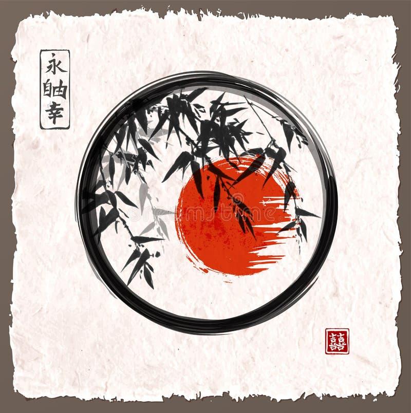 Bamboebomen en rode zon in zwarte enso zen cirkel vector illustratie