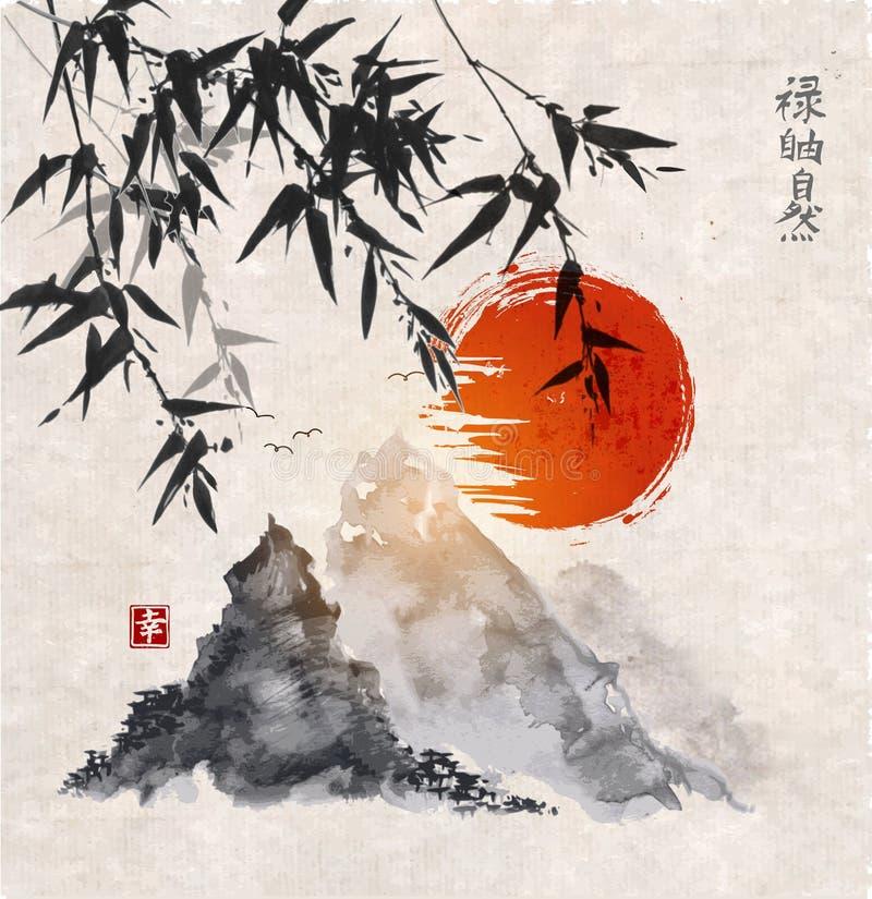 Bamboebomen, zon en bergen stock illustratie
