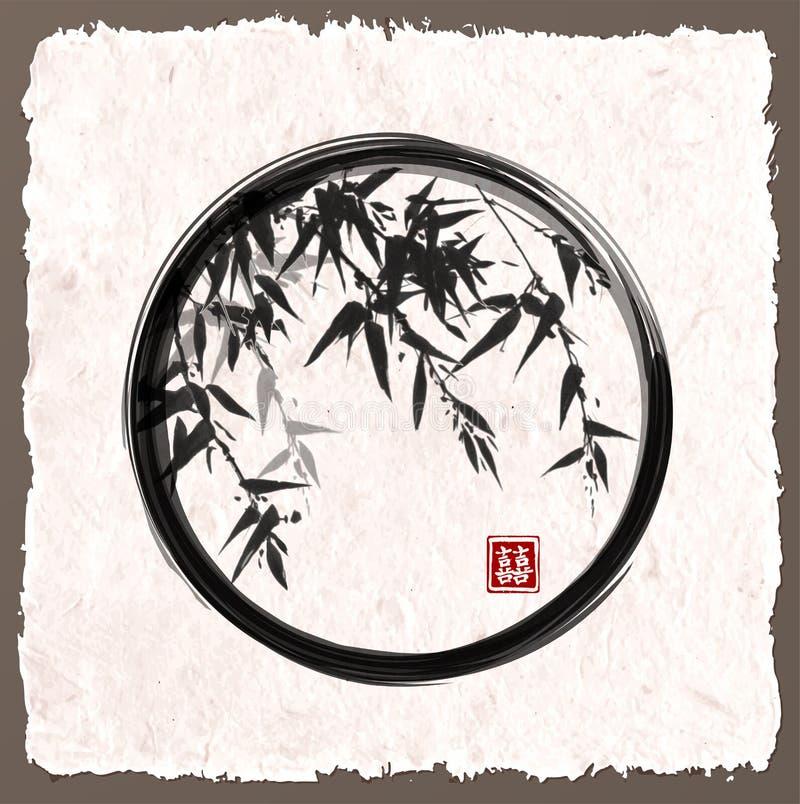 Bamboebomen in zwarte enso zen cirkel stock illustratie