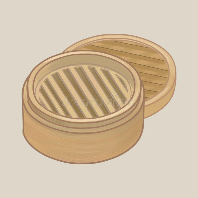 Bamboestoomboot met dekselillustratie stock illustratie