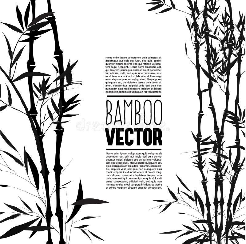 Bamboestruik, inkt het schilderen vector illustratie