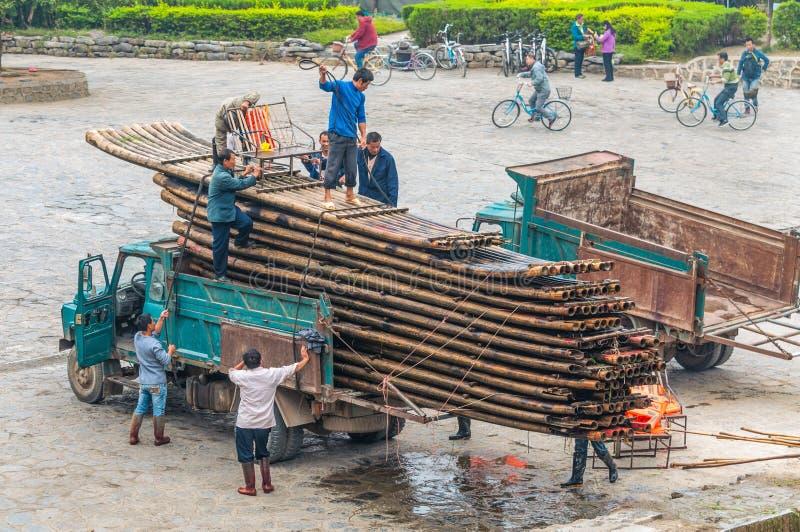 Bamboevlotten - Yangshuo, China royalty-vrije stock foto