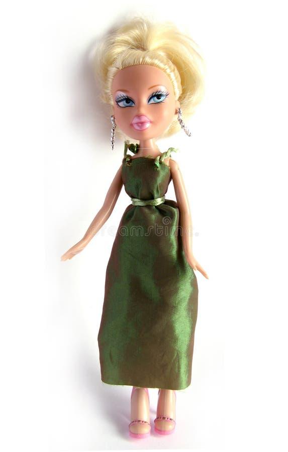 Bambola bionda su bianco fotografia stock