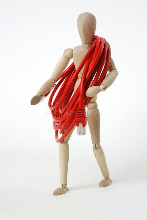 Bambola congiunta con il cavo della rete di calcolatore fotografie stock