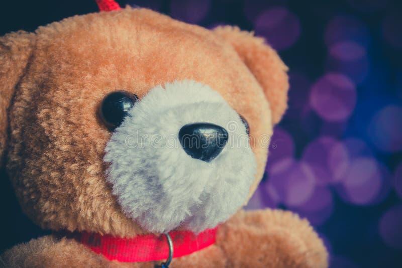 Bambola dell'orso bruno con il fondo del bokeh immagine stock