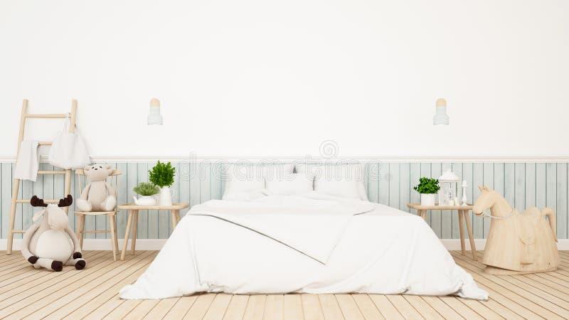 Bambola dell'orso e della renna nella stanza del bambino o nella rappresentazione di bedroom-3D illustrazione di stock