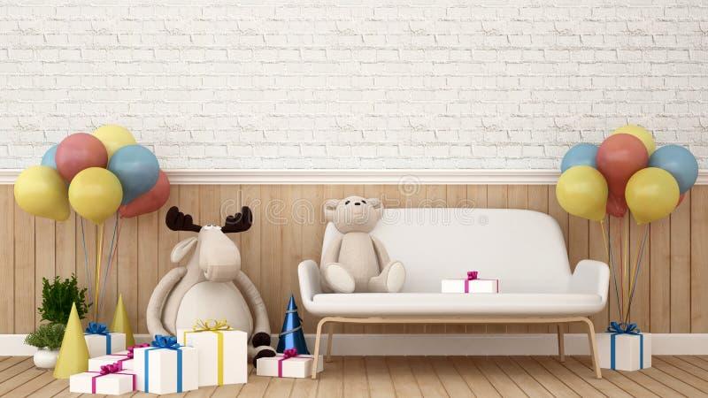 Bambola della renna con la bambola dell'orso sul sofà e sul pallone nella stanza del bambino - rappresentazione 3D illustrazione vettoriale