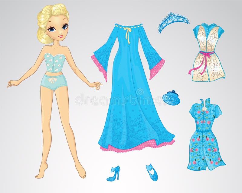 Bambola di carta della regina della neve illustrazione di stock