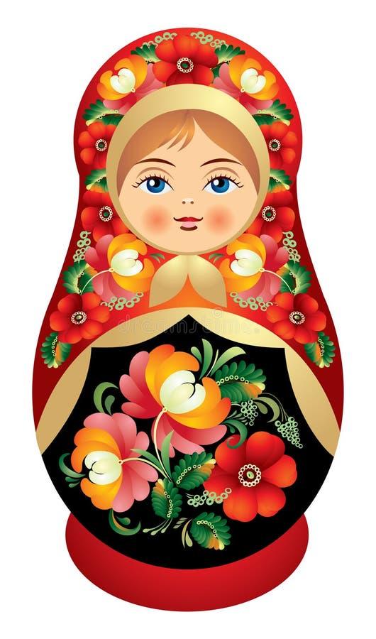 Bambola di Matryoshka con il fiore o della Russia illustrazione di stock