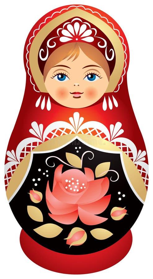 Bambola di Matryoshka in Kokoshnik illustrazione di stock