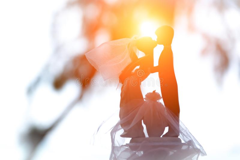 Bambola di nozze delle coppie e degli amanti che baciano nell'evento di nozze alla spiaggia Unit? e per sempre concetto Concetto  fotografia stock libera da diritti