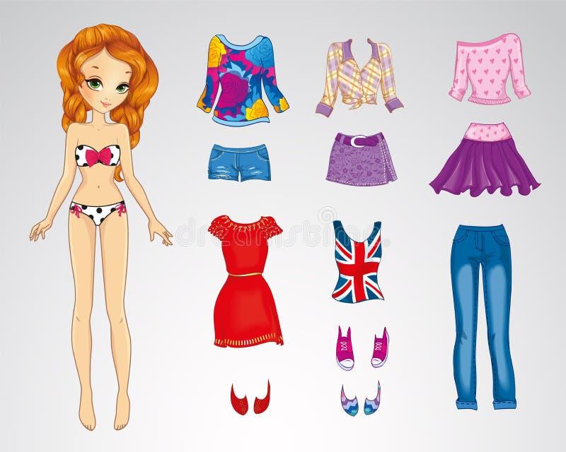 Bambola luminosa dei capelli rossi di carta royalty illustrazione gratis