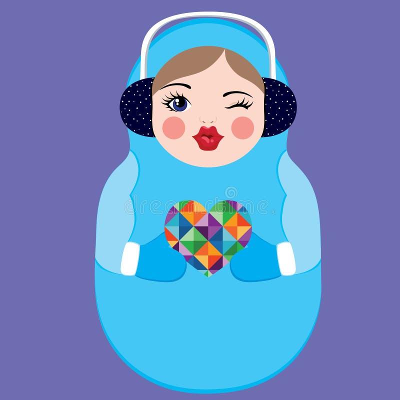 Bambola russa sveglia di matryoshka che tiene un cuore variopinto Illustrazione di vettore di inverno fotografia stock