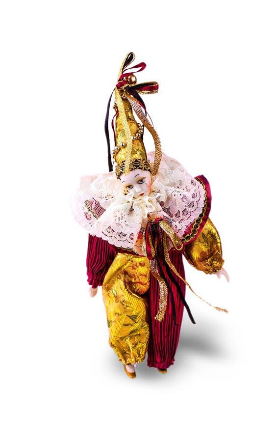 Bambola triste del pagliaccio della porcellana su bianco fotografia stock libera da diritti