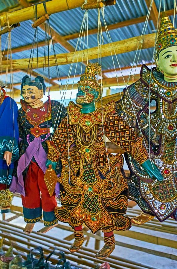 Bambole tradizionali, villaggio di Thein Indein della locanda sul lago Inle, Myan fotografia stock