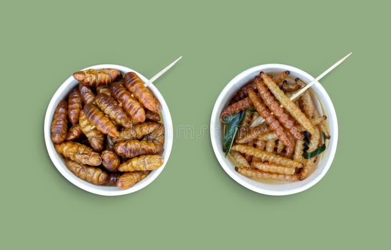 Bamboo ätlig mask insekter crispy eller Bamboo Caterpelare och Chrysalis Silkworm i vit papperskopp på grön bakgrund royaltyfria bilder