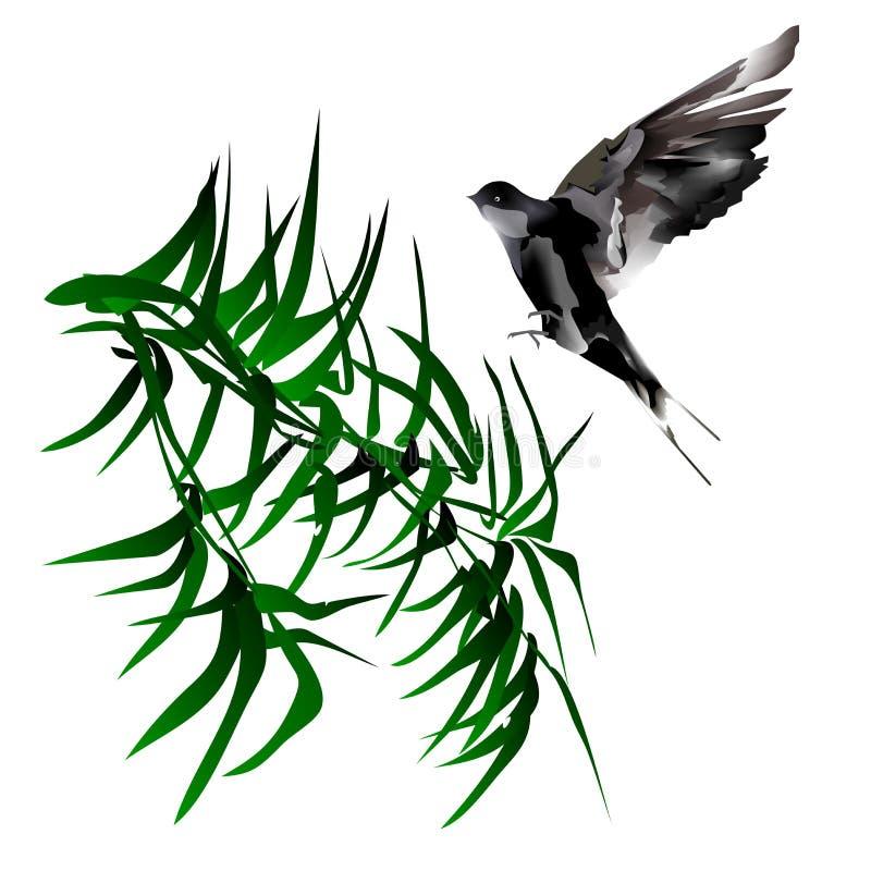 bamboo иллюстрация птицы иллюстрация вектора