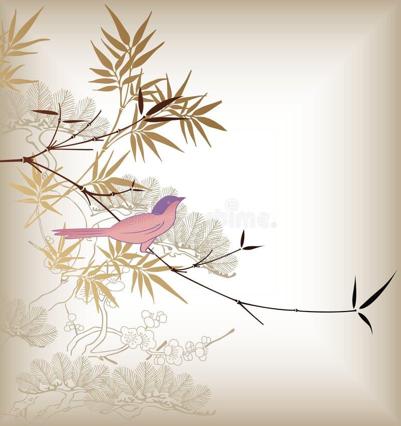 bamboo птица oriental иллюстрация штока
